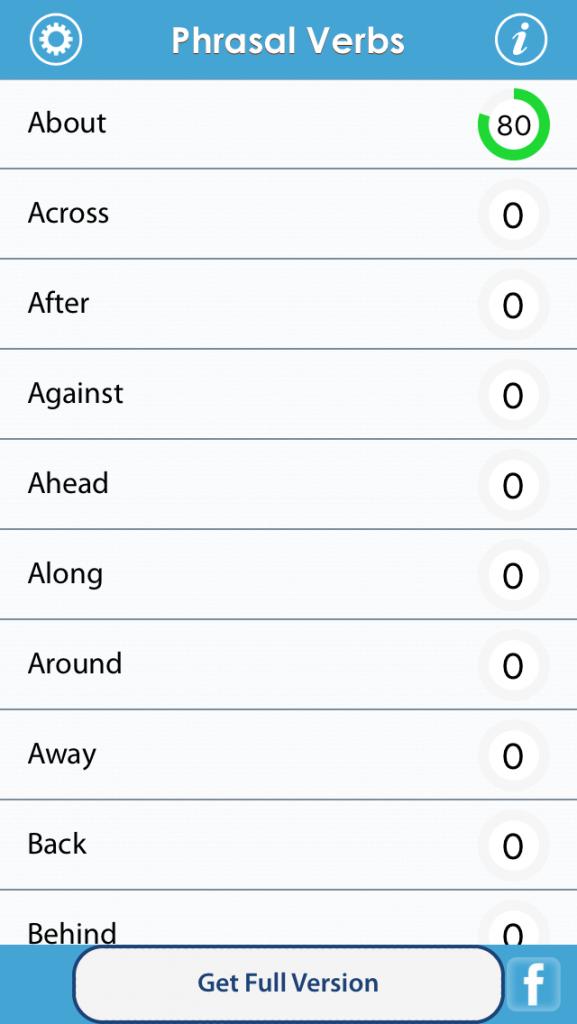 Phrasal verbアプリGrammar upのメニュー画面