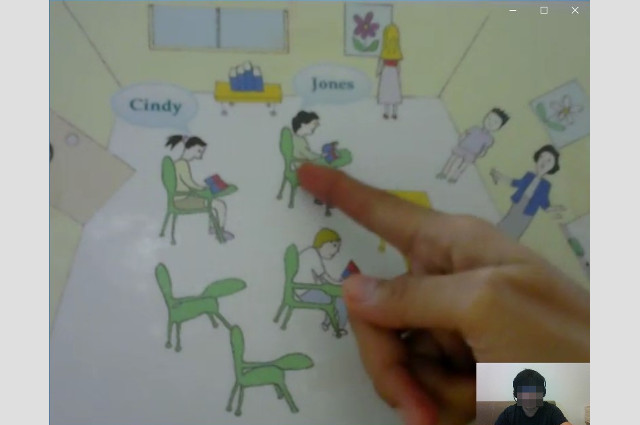 DMEメソッド無料体験 教室の絵を見て答える練習